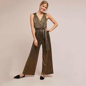 Anthropologie Jumpsuit Gold Sleeveless Wide Leg